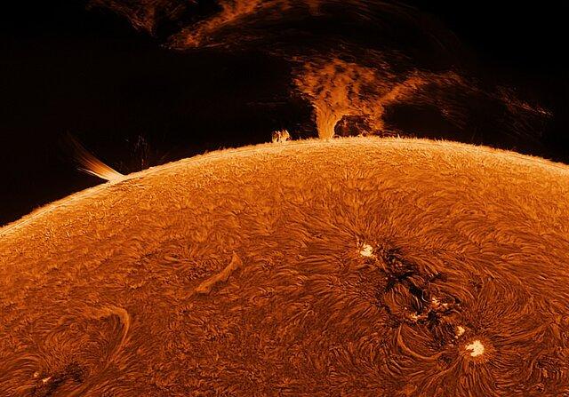 ثبت تصاویری زیبا از خورشید توسط استاد بازنشسته از باغ خانهاش