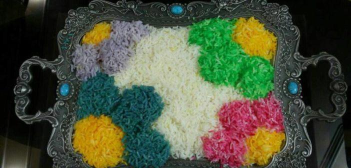تزیین برنج با رنگ غذا و رنگ های طبیعی برای مهمانی و مجلس
