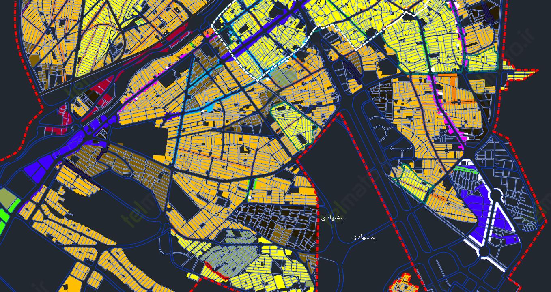 تصاویری از دانلود فایل اتوکد نقشه شهرستان ( شهر ) قم با فرمت DWG | تراکم و طرح تفصیلی